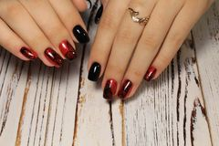 Beautiful Nail Art Manicure. Nail designs with decoration royalty free stock photo