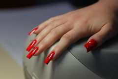 Beautiful nails. On womanish hands Stock Photo