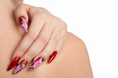 Beautiful nails. Hand of the girl with beautiful red nails stock images