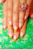 Beautiful nails with Art Stock Photo