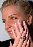 Beautiful nails with Art, false eyelashes Royalty Free Stock Image