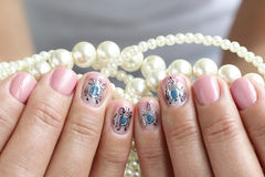 Beautiful nails with art Royalty Free Stock Photo
