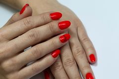 Beautiful nails are covered with red gel lacquer. Woman in a beauty salon. Beautiful nails are covered with red gel lacquer. Closeup hands on a white background royalty free stock images