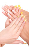 Beautiful nails and fingers. Closeup image of beautiful nails and woman fingers Royalty Free Stock Photo
