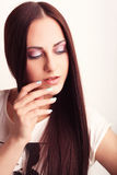 Beautiful nails. Beautiful girl showing her nails Royalty Free Stock Photo