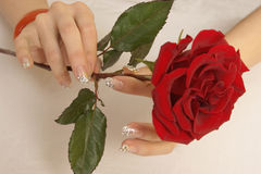 Beautiful nails and roses Royalty Free Stock Photo