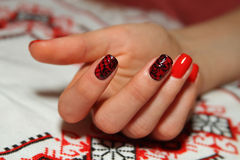 Beautiful nails of Young woman Stock Image
