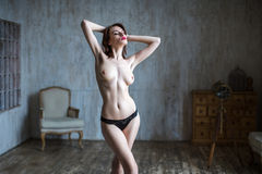 Beautiful naked body of young and sexy woman. Stock Photo