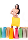 Beautiful naked girl with a shopping bag Royalty Free Stock Photo