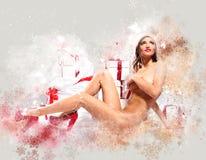 Beautiful naked santa woman Stock Photography
