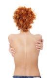 Beautiful naked woman back. Isolated on white , isolated on white background Royalty Free Stock Photo