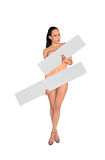 Beautiful naked woman. Holding banner on white background Stock Photos