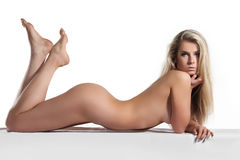 Beautiful  naked woman lying, nude body Royalty Free Stock Images