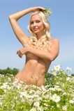 Beautiful naked woman on the meadow Royalty Free Stock Images