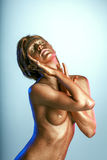 Beautiful naked woman posing as living statue Royalty Free Stock Photo