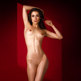 Beautiful Naked Woman Posing  On Red Background Royalty Free Stock Photography