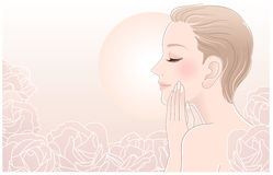 Beautiful Naked Woman Touching Her Face In Roses Stock Images