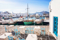 Beautiful Naousa village, Paros island, Cyclades, Greece. Greek fishing village in Paros, Naousa, Greece Royalty Free Stock Image
