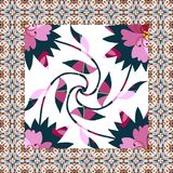 Beautiful napkin with floral kaleidoscope. Stock Images