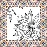 Beautiful napkin with hand drawn black and white flower. Royalty Free Stock Photo