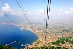Beautiful Naples Bay view from Faito cableway Royalty Free Stock Photo