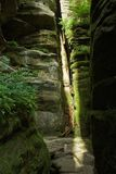 Narrow chasm with light coming in. Beautiful narrow rock chasm in natural terrain with beam of light Stock Images