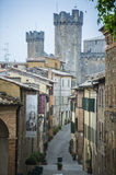 Beautiful Narrow Streets of Montalcino City. With Fortress View Stock Photo