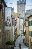 Beautiful Narrow Streets of Montalcino City. With Fortress View Royalty Free Stock Photo