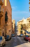 Beautiful narrow streets of Valletta old town on Malta. May 01, 2018. Valletta, Malta. Beautiful narrow streets of Valletta old town on Malta Stock Photos