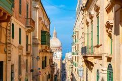 Beautiful narrow streets of Valletta old town on Malta. May 01, 2018. Valletta, Malta. Beautiful narrow streets of Valletta old town on Malta Stock Photo