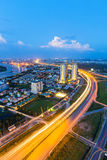 Beautiful National Route 1A highway from high view at Ho Chi Minh City ( Sai Gon ) , Vietnam in sunset or sunrise Royalty Free Stock Photography