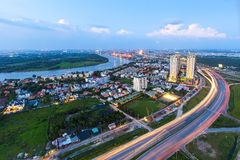 Beautiful National Route 1A highway from high view at Ho Chi Minh City ( Sai Gon ) , Vietnam in sunset or sunrise Royalty Free Stock Images
