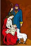 Beautiful Nativity Illustration. Mary, Joseph, baby Jesus and sheep Royalty Free Stock Image