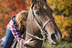 Beautiful and natural adult woman outdoors with horse Royalty Free Stock Photography