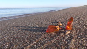 Beautiful natural amber pieces on sea morning beach sand stock video