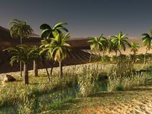 Beautiful natural background -African oasis 3d rendering. Beautiful natural background -African oasis Stock Images