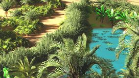 Beautiful natural background -African oasis 3d rendering. Beautiful natural background -African oasis Royalty Free Stock Image