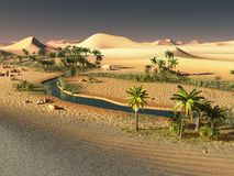 Beautiful natural background -African oasis 3d rendering. Beautiful natural background -African oasis Royalty Free Stock Photos