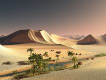 Beautiful natural background -African oasis 3d rendering. Beautiful natural background -African oasis Stock Image