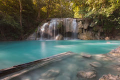 Beautiful natural blue stream waterfall in deep forest tropical jungle Stock Photography