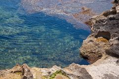 Beautiful natural coast landscape with cavities. In rocks and turquoise blue water in Mallorca, Spain stock photo
