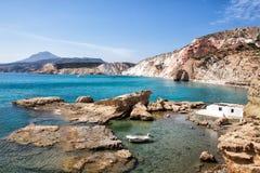 Beautiful natural colors of Firiplaka beach, Milos, Greece Stock Photos