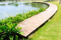 Beautiful natural garden decorate view. Wooden walking ways Stock Photo