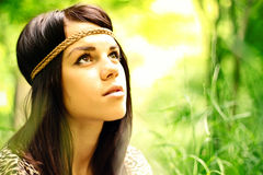 Beautiful natural girl. Outdoors in the forest royalty free stock photos