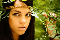 Beautiful natural girl. Outdoors in the forest royalty free stock image