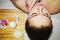 Beautiful natural girl woman in the spa salon, second chin, double chin Stock Photo