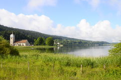 Beautiful natural landscape of Abbey Lake in Jura, France Stock Photo