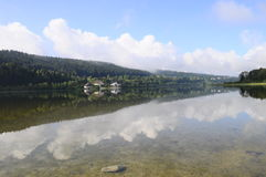 Beautiful natural landscape of Abbey Lake in Jura, France stock photos
