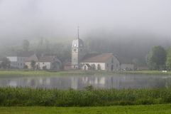 Beautiful natural landscape of Abbey Lake in Jura, France Royalty Free Stock Photos