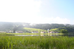 Beautiful natural landscape of Abbey Lake in Jura, France Royalty Free Stock Images